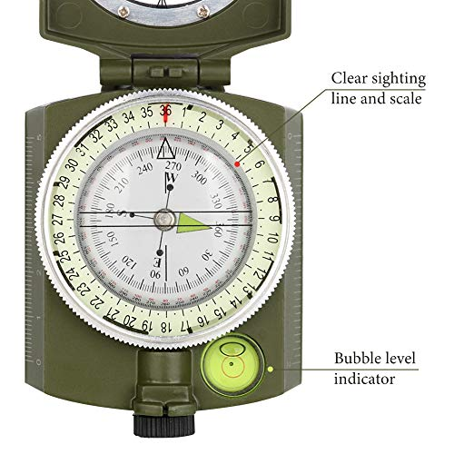 YEHOBU Survival Compass 3 YEHOBU Hiking Compass, Military Compass, Multifunctional Lensatic Compass, Waterproof Navigation Compasses, Survival Emergency Luminous Sighting Compass