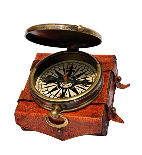 MAH Survival Compass 3 MAH ''Robert Frost Poem'' Engraved Antiquated Finish Brass Compass with Case. C-3241