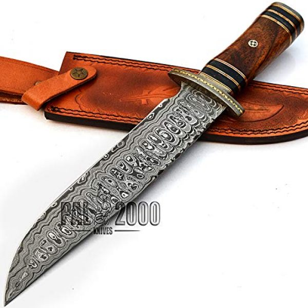 PAL 2000 KNIVES Fixed Blade Survival Knife 5 PAL 2000 KNIVES Handmade Damascus Steel Knife with Sheath 14 Inches Beautiful Rose Wood Handle New Pattern Fixed Blade Full Sharp Edge 9688