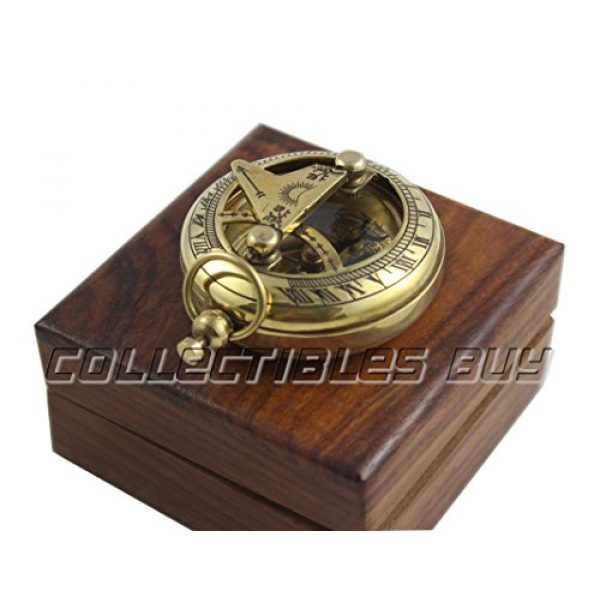 collectiblesBuy Survival Compass 4 Marine Sundial Compass with Nautical Solid Wooden Box Vintage Brass Ship Navigate Device Nautical Gift Collection