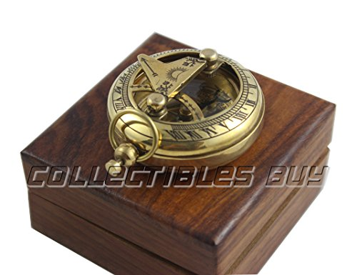 collectiblesBuy  4 Marine Sundial Compass with Nautical Solid Wooden Box Vintage Brass Ship Navigate Device Nautical Gift Collection