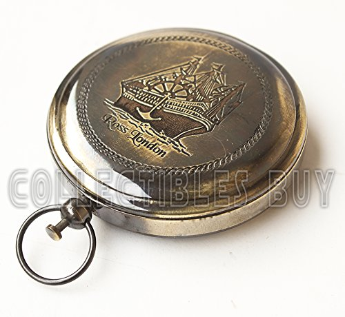 collectiblesBuy  2 Collectibles Buy Nautical Ross London Brass Round Pocket Compass Marine Navigational Royal Device Gift Item