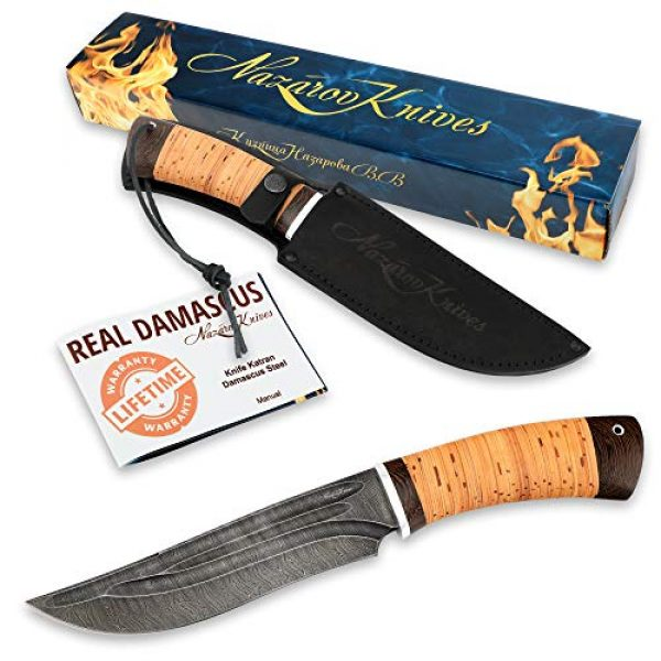 Nazarov Knives Fixed Blade Survival Knife 7 Hunting Knife KATRAN with Hammered Damascus Steel Fixed Blade for Survival, Buck Skinning, Fishing or Camping, Balanced Birchbark Handle, Leather Sheath