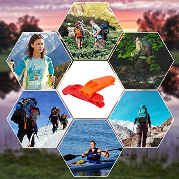 FFNIU Survival Whistle 6 FFNIU 20 Pcs Safety Emergency Whistle Plastic Whistle Red and Orange Set with Lanyard for Boating Camping Hiking Climbing
