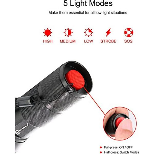 Parts Flix Survival Flashlight 3 Parts Flix PF-A2024-B LED Tactical, Ultra Bright Zoomable, 5 Modes, Water Resistant, Handheld Light-Best Camping, Outdoor, Emergency, Everyday Flashlights