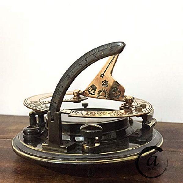 AV Survival Compass 4 AV Maritime Sundial Compass Brass Solid Nautical Sundiel Clock Compasses, Gifts for Travelers, Hiking, Trekking (Antique Finish)