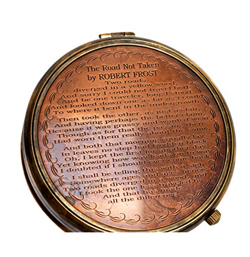 MAH Survival Compass 7 MAH ''Robert Frost Poem'' Engraved Antiquated Finish Brass Compass with Case. C-3241