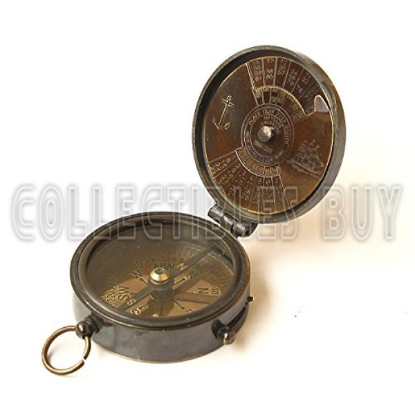 collectiblesBuy Survival Compass 2 collectiblesBuy Brass Compass Vintage Finish Kelvin Hughes 100 Year Calendar Compasses lid Compass