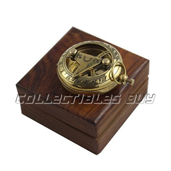 collectiblesBuy Survival Compass 3 Marine Sundial Compass with Nautical Solid Wooden Box Vintage Brass Ship Navigate Device Nautical Gift Collection