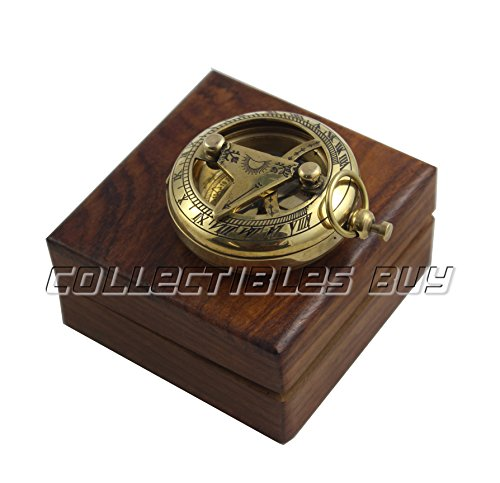 collectiblesBuy  3 Marine Sundial Compass with Nautical Solid Wooden Box Vintage Brass Ship Navigate Device Nautical Gift Collection