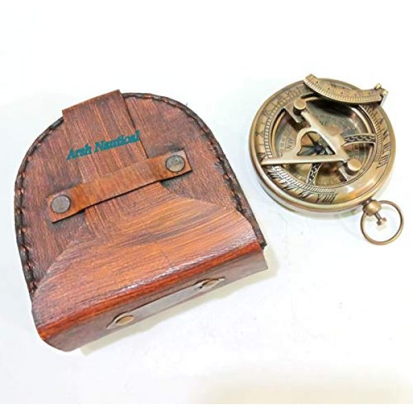 Aysha Nautical Survival Compass 2 Aysha Nautical Gifts for Husband/Nautical Collectibles Brass Sundial Compass with Handmade Leather Case