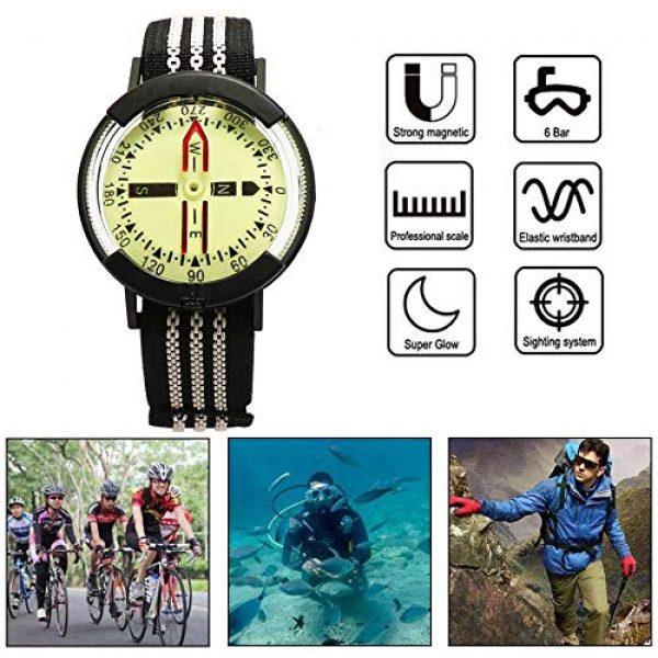Kakuru Survival Compass 2 Kakuru Survival Fist Aid Wrist Compass, High Accuracy IP67 Waterproof Dustproof Luminous Watch Compass for Diving Hiking Outdoor Activities