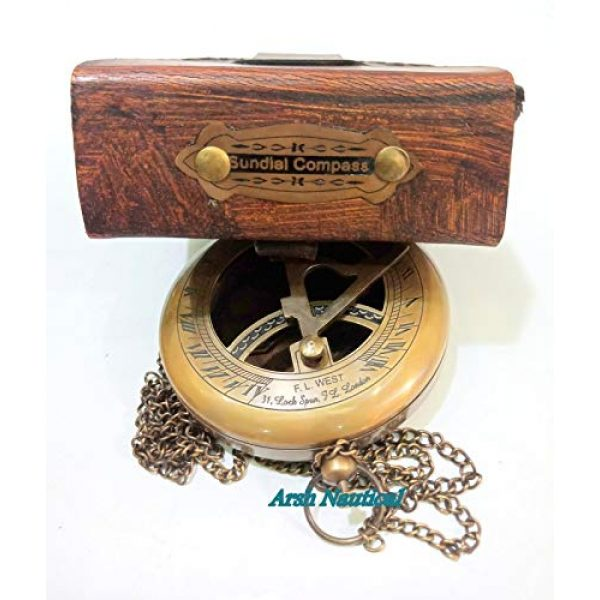Aysha Nautical Survival Compass 5 Aysha Nautical Brass Sundial Compass with Leather Case and Chain - Push Open Compass - Steampunk Accessory - Antiquated Finish - Beautiful Handmade Gift -Sundial Clock