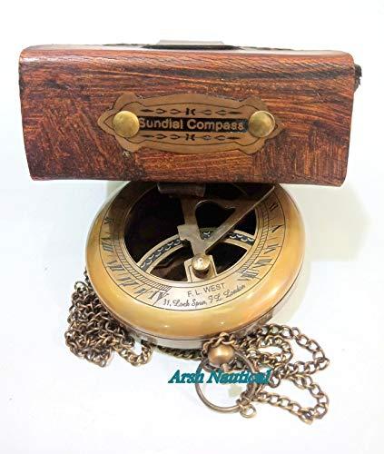 Aysha Nautical  5 Aysha Nautical Brass Sundial Compass with Leather Case and Chain - Push Open Compass - Steampunk Accessory - Antiquated Finish - Beautiful Handmade Gift -Sundial Clock