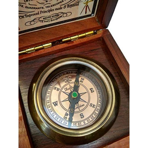 Antiqula Survival Compass 6 Brass Compass Handmade Gift Pocket with Rosewood Box Waterproof Anti Shock Outdoor Ship Camping Hiking Antique Compass Navigation Tool and Vintage Home Decor Wooden Carving Box