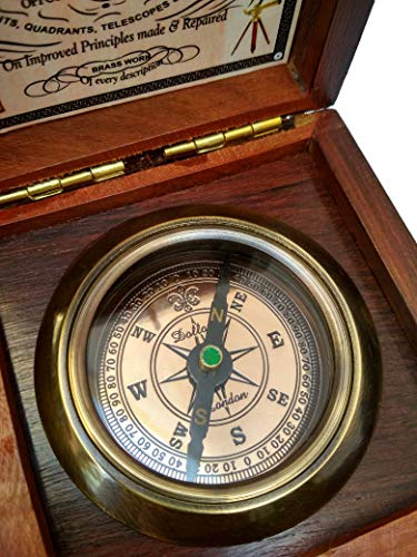Antiqula  6 Brass Compass Handmade Gift Pocket with Rosewood Box Waterproof Anti Shock Outdoor Ship Camping Hiking Antique Compass Navigation Tool and Vintage Home Decor Wooden Carving Box