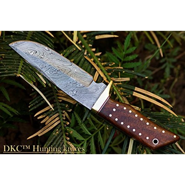 """DKC Knives Fixed Blade Survival Knife 5 (14 5/18) DKC-500 Cougar Damascus Steel Bowie Hunting Knife 9"""" Long, 4"""" Blade 7.4 oz ! Rosewood Handle"""