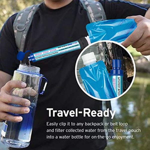 DOTSOG Survival Water Filter 5 DOTSOG Personal Water Filter Straw BPA Free with 2000L 4-Stage,Portable Water Purifier Lightweight for Hiking Camping Survival Outdoor Backpacking Traveling Emergencywith case