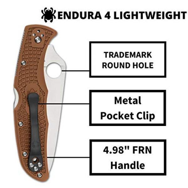 "Spyderco Folding Survival Knife 4 Spyderco Endura 4 Lightweight Signature Folder Knife with 3.80"" VG-10 Steel Blade and Brown FRN Handle - PlainEdge Grind - C10FPBN"