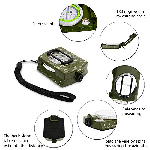 AOFAR Survival Fire Starter 4 AOFAR AF-4580/381 Military Compass Lensatic Sighting and Fire Starter Survival Kit,Waterproof and Shakeproof Measurer Distance Calculator and Pouch for Camping, Hiking, Hunting, Backpacking