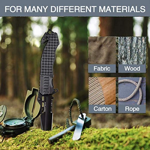 Seenew Folding Survival Knife 6 Tactical Folding Knife - Escape Pocket Knife, Emergency Knife and Survival Knife w/ 3.6 Inch Serrated Edge Knife Blade and Glass Breaker and Seatbelt Cutter