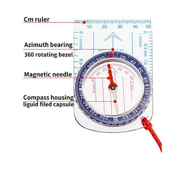 Gejoy Survival Compass 4 Gejoy Boy Scout Compass Orienteering Compass Map Compass for Hiking Fishing Camping Navigation