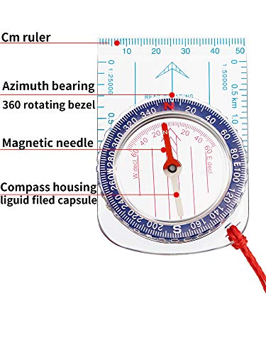 Gejoy  4 Gejoy Boy Scout Compass Orienteering Compass Map Compass for Hiking Fishing Camping Navigation