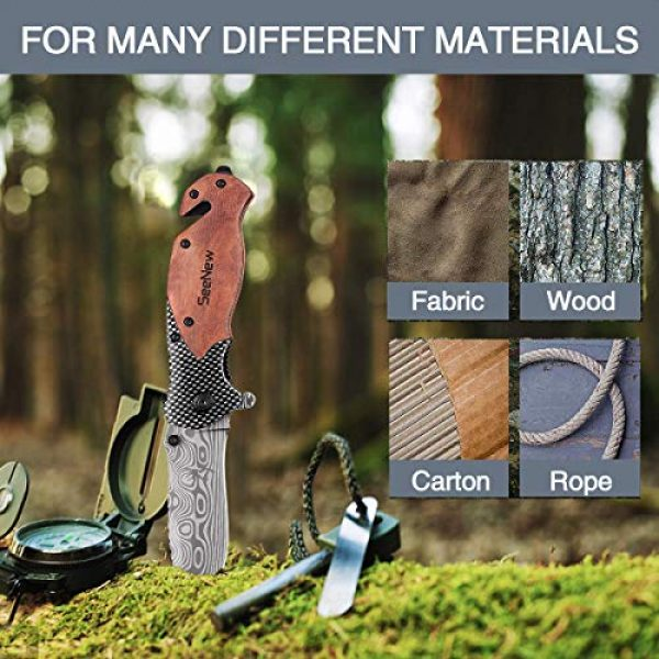 Seenew Folding Survival Knife 5 Rescue Pocket Knife with Flipper, Survival Folding Knife with Seat Belt Cutter and Glass Breaker, Outdoor Sturdy Tactical Pocket Knife with Steel Blade, Thumb Stud and Clip