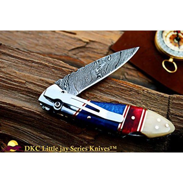 "DKC Knives Folding Survival Knife 2 DKC Knives Sale DKC-58-LJ-CL-DS-PC Little Jay Classic Pocket Clip Damascus Folding Pocket Knife Buffalo Horn Handle 4"" Folded 7"" Long 4.7oz oz High Class Looks Incredible Hand Made LJ-Series"