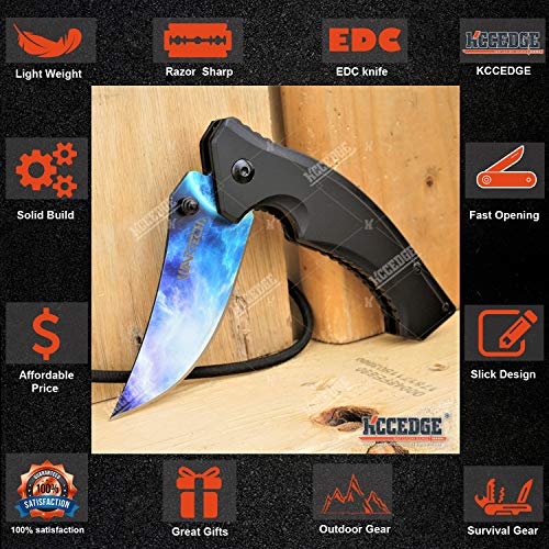 KCCEDGE BEST CUTLERY SOURCE  3 KCCEDGE BEST CUTLERY SOURCE Pocket Knife Camping Accessories Survival Kit Razor Sharp Trailing Point EDC Tactical Knife Hunting Knife Camping Gear Folding Knife 56164