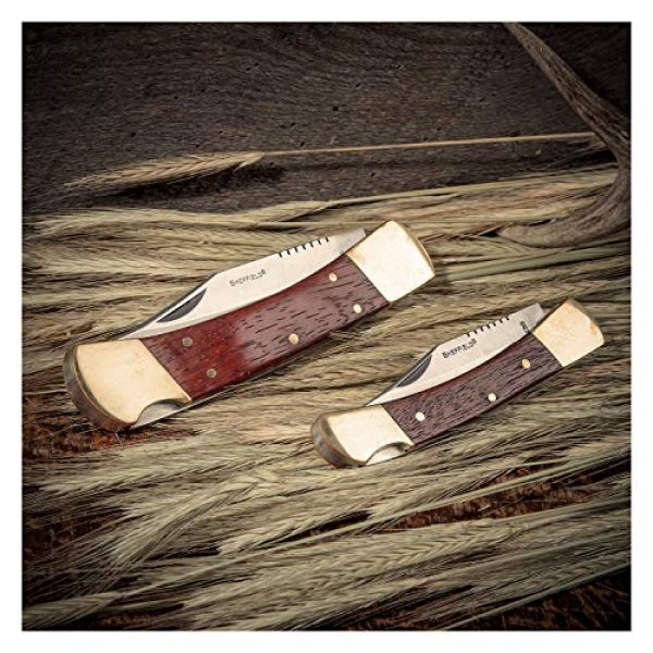 Sheffield Folding Survival Knife 7 Sheffield 12697 Classic Folding Knife Set | 2 Partially Serrated Knives One 3 Blade, One 3-3/4 Blade | Hardwood & Brass Handles | Lock Back Release | Quality Go-Anywhere Knives