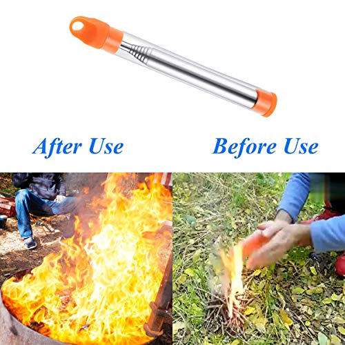 Terberl Survival Fire Starter 2 Terberl 6 Pieces Collapsible Stainless Steel Fire Bellow, Collapsible Outdoor Blow Fire Tube for Picnic Camping Hiking