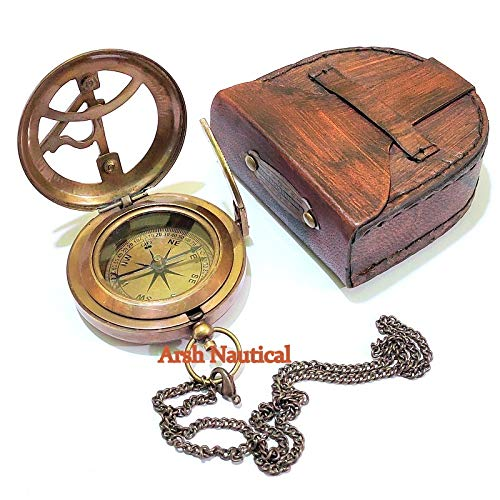 Arsh Nautical  2 Arsh Nautical Gifts for Husband/Nautical Collectibles Brass Sundial Compass with Handmade Leather Case