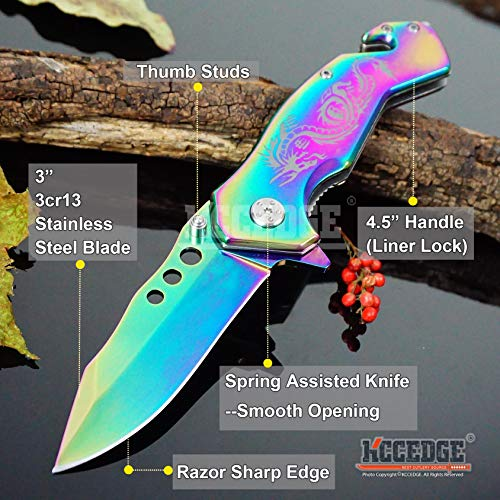 KCCEDGE BEST CUTLERY SOURCE  2 KCCEDGE BEST CUTLERY SOURCE EDC Pocket Knife Camping Accessories Razor Sharp Edge Drop Point Blade Folding Knife Camping Gear Survival Kit 58595