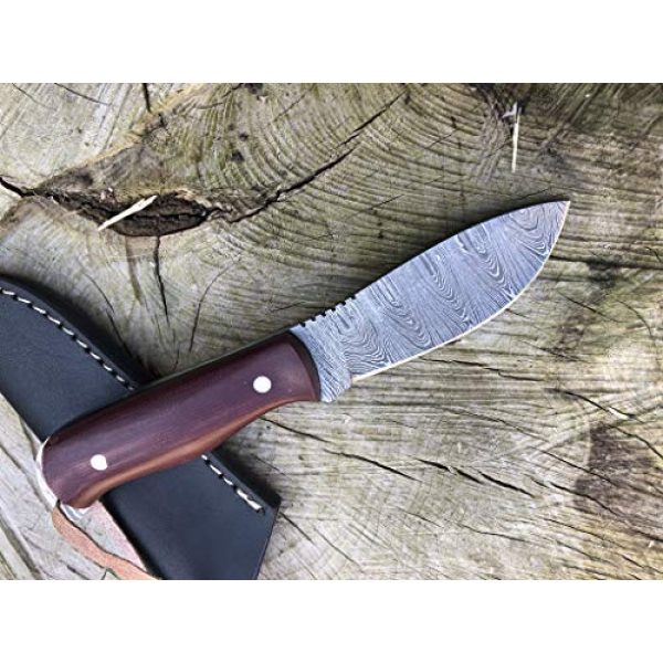 Perkin Fixed Blade Survival Knife 3 Perkin Damascus Steel Hunting Knife with Sheath Skinning & Bushcraft Knife - SK400