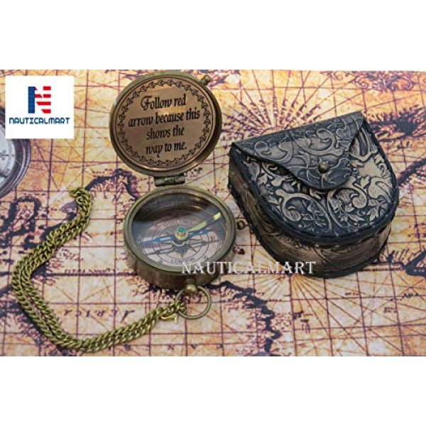 NauticalMart Survival Compass 3 NauticalMart Grow Old Along with Me Engraved Brass Compass with Chain and Leather case Gift for Wedding, Anniversary, Baptism, Retirement, or Christmas - Vintage Style Working Compass