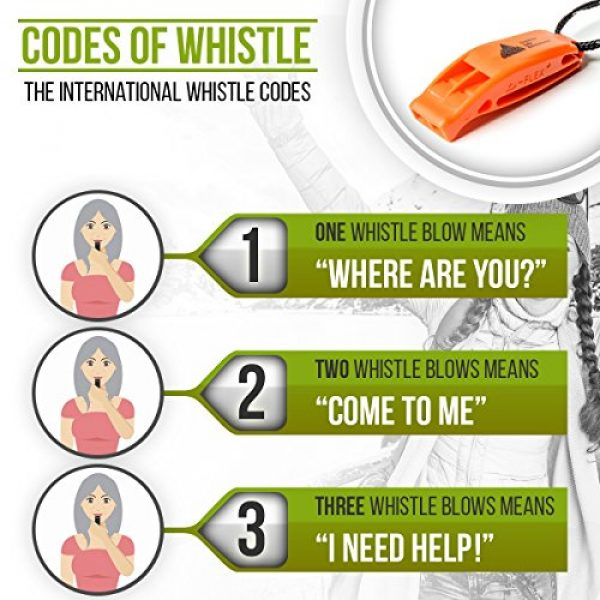 Outdoor Life Adventures Survival Whistle 5 IMPROVED NEW Fail Safe Emergency Whistle With Lanyard Easy To Use For Signaling Attention Essential Survival & Personal Safety Gear for Family Vacations, Camping Trips & More 3 Multiple Colors