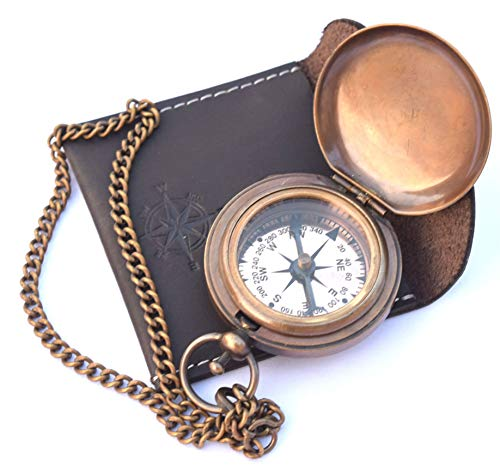 NEOVIVID Survival Compass 3 NEOVIVID Handmade Brass Push Open Compass On Chain with Leather Case, Pocket Compass, Gift Compass