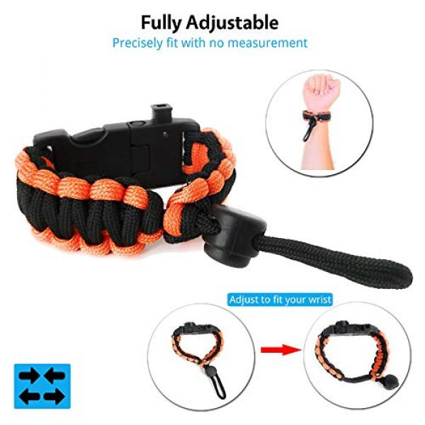 Nexfinity One Survival Paracord Bracelet 5 Nexfinity One Survival Paracord Bracelet - Tactical Emergency Gear Kit with SOS LED Light, Knife, 550 Grade, Adjustable, Multitools, Fire Starter, Compass, and Whistle - Set of 2