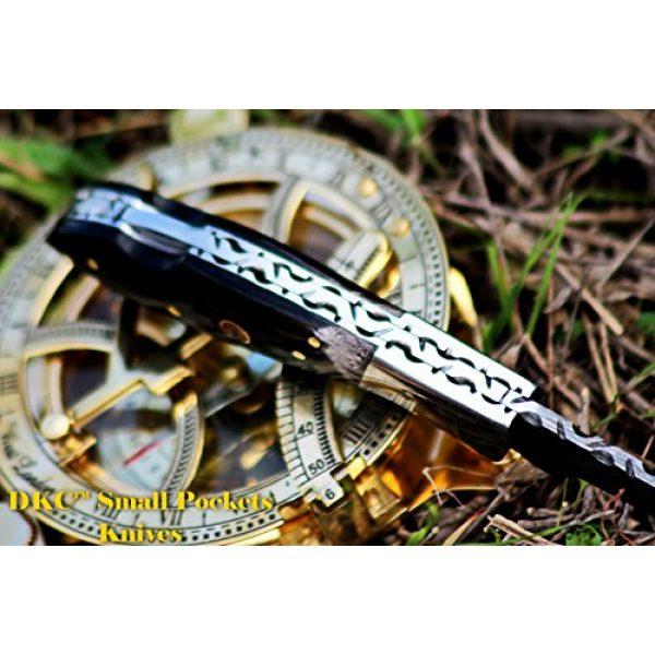 "DKC Knives Folding Survival Knife 6 DKC Knives DKC-58 Little Jay Series Knives Damascus Folding Pocket Knife 4"" Folded 7"" Long 4.7oz oz High Class Looks Hand Made LJ-Series"