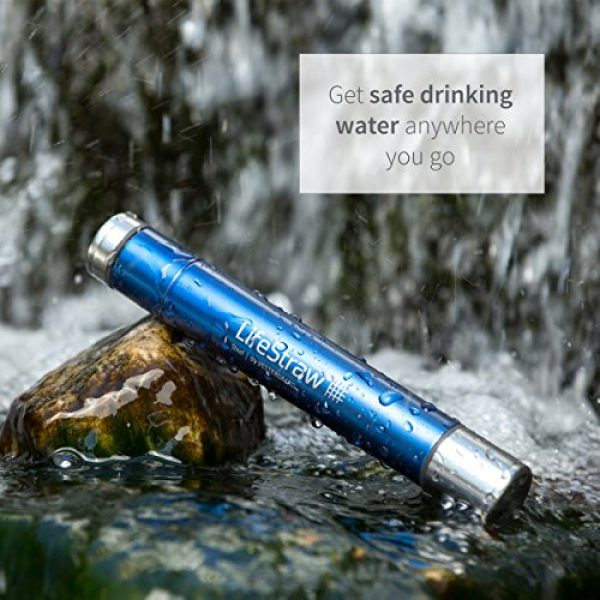 LifeStraw Survival Water Filter 4 LifeStraw Steel Personal Water Filter with 2 Stage Carbon Filtration for Hiking, Camping, Travel and Emergency Preparedness