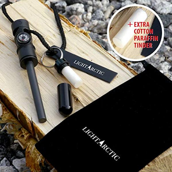 LightArctic Survival Fire Starter 2 LightArctic Magnesium Fire Starter Survival Multi-Tool with Tinder. Best for Campfires, Emergency Kit, Camping and Hiking Gear. Built-in Compass and Whistle, Waterproof Aluminum Capsule, Cloth Bag