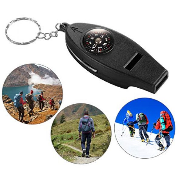 BBTO Survival Whistle 5 BBTO 16 Pack Multifunctional Whistle Compass Thermometer Magnifier Sports Multi-Function Whistle Emergency Survival Tool