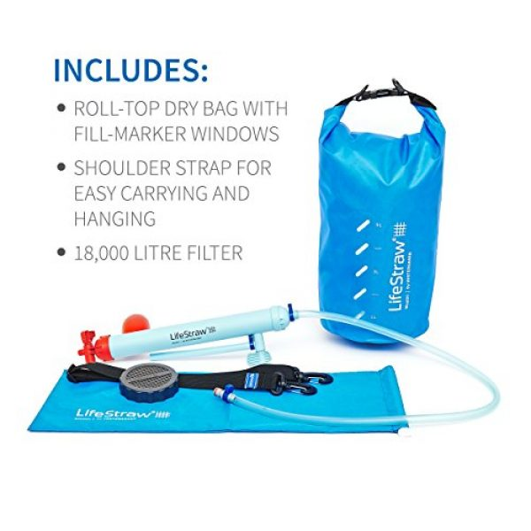 LifeStraw Survival Water Filter 5 LifeStraw Mission Water Purification System, High-Volume Gravity-Fed Purifier for Camping and Emergency Preparedness