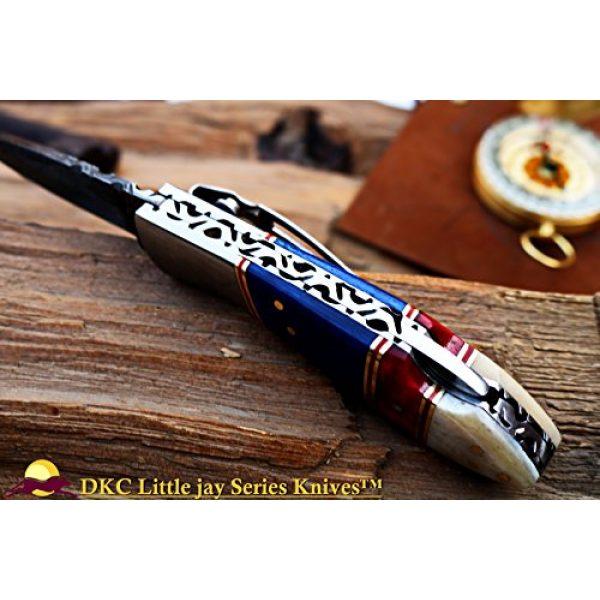 "DKC Knives Folding Survival Knife 7 DKC Knives Sale DKC-58-LJ-CL-DS-PC Little Jay Classic Pocket Clip Damascus Folding Pocket Knife Buffalo Horn Handle 4"" Folded 7"" Long 4.7oz oz High Class Looks Incredible Hand Made LJ-Series"