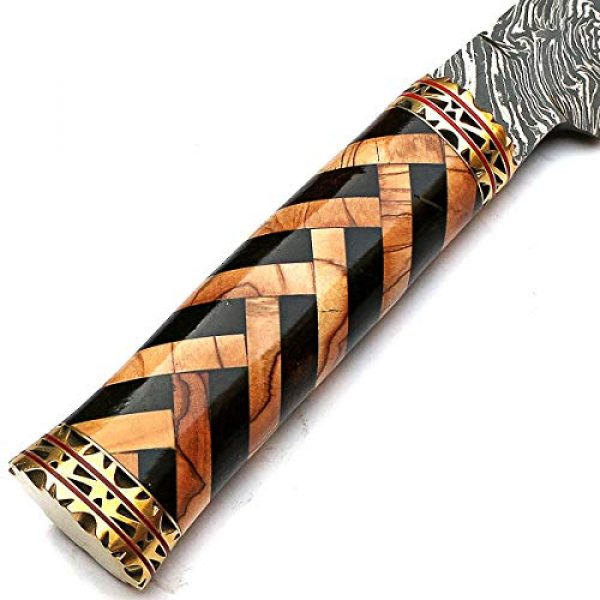 PAL 2000 KNIVES Fixed Blade Survival Knife 5 Beautiful Damascus Knives Best Hand Forged Damascus Steel Knife with Sheath Sharp Edge Blade New Pattern Rosewood, Olive Wood Handle - STNN-9277