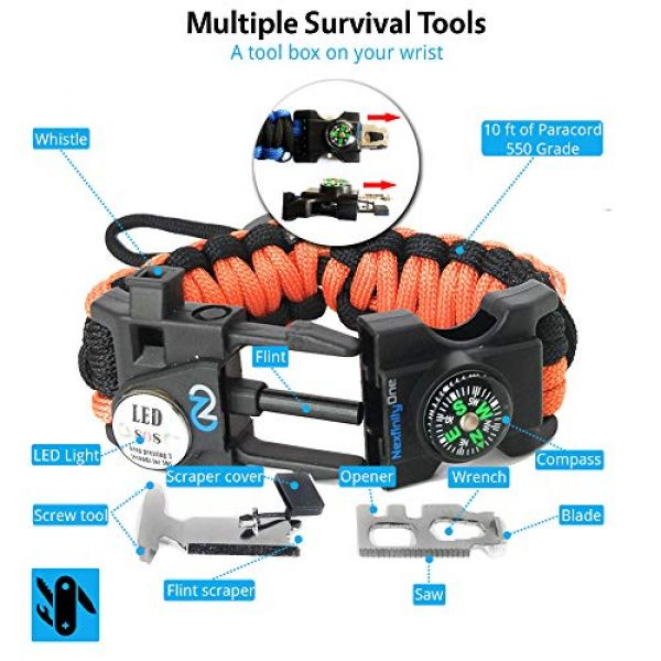 Nexfinity One Survival Paracord Bracelet 4 Nexfinity One Survival Paracord Bracelet - Tactical Emergency Gear Kit with SOS LED Light, Knife, 550 Grade, Adjustable, Multitools, Fire Starter, Compass, and Whistle - Set of 2
