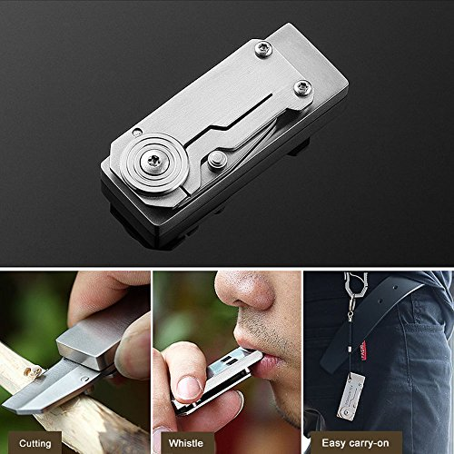 Binboll  4 Binboll Stainless Steel Double Tubes High Decibel Outdoor Life-Saving Emergency Whistle Clip Whistle