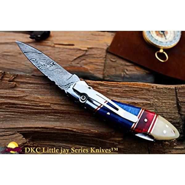 "DKC Knives Folding Survival Knife 3 DKC Knives Sale DKC-58-LJ-CL-DS-PC Little Jay Classic Pocket Clip Damascus Folding Pocket Knife Buffalo Horn Handle 4"" Folded 7"" Long 4.7oz oz High Class Looks Incredible Hand Made LJ-Series"