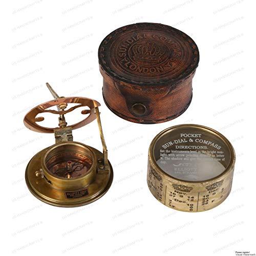 US HANDICRAFTS Survival Compass 3 Vintage Compass NAVIGATIONAL Instrument - Marine Sundial Compass with Leather Case & Calendar.